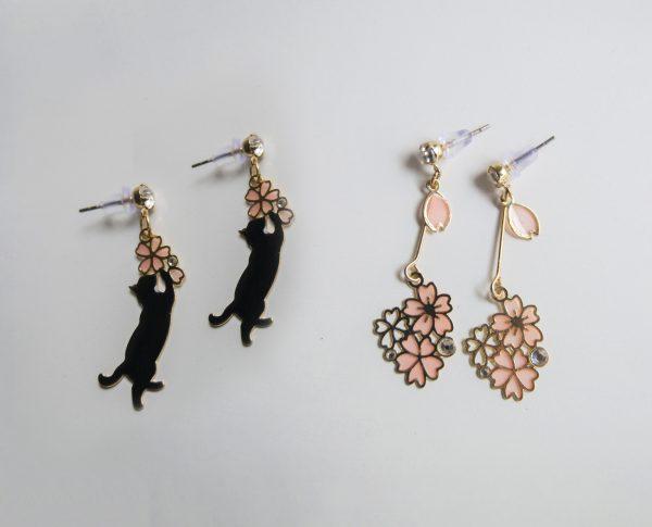 Black Sakura earrings
