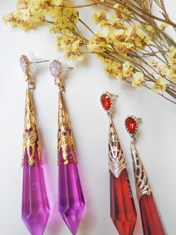 violet red gem earring
