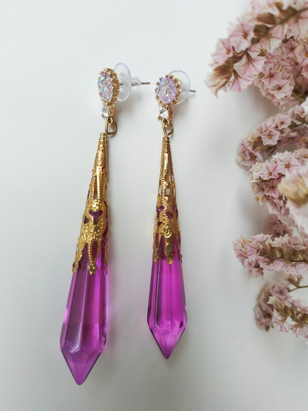 violet gem earring